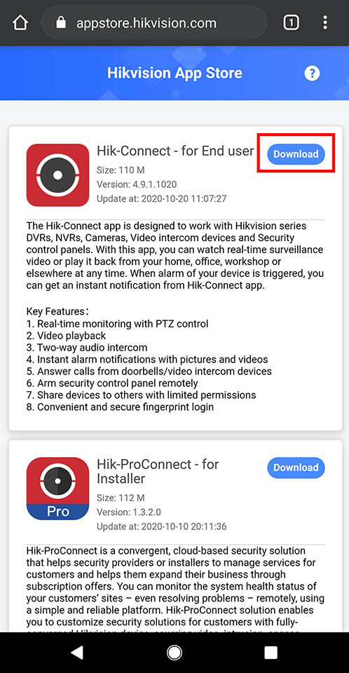 How to install Hik-Connect on Android