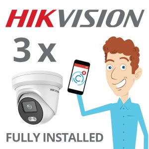 3 x Hikvision Camera with ColorVu Installed